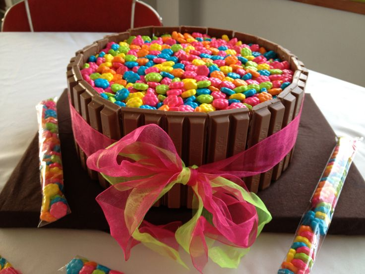 Kit Kat Cake With Mini Flower Candies For My 13 Year Old S