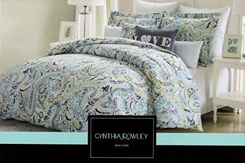 Cynthia Rowley 3 Piece Full Queen Duvet Cover Set Blue