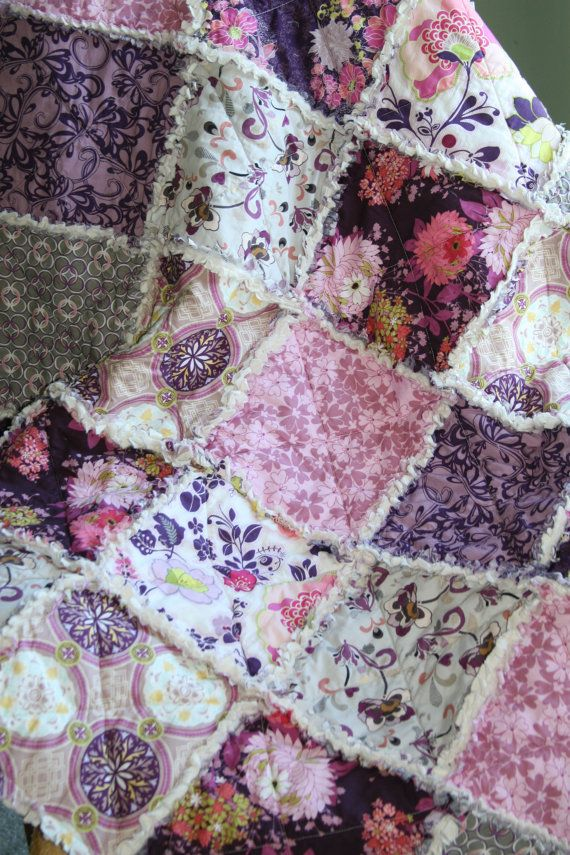 Crib Rag Quilt Baby Girl Crib Bedding Purple Pink Grey