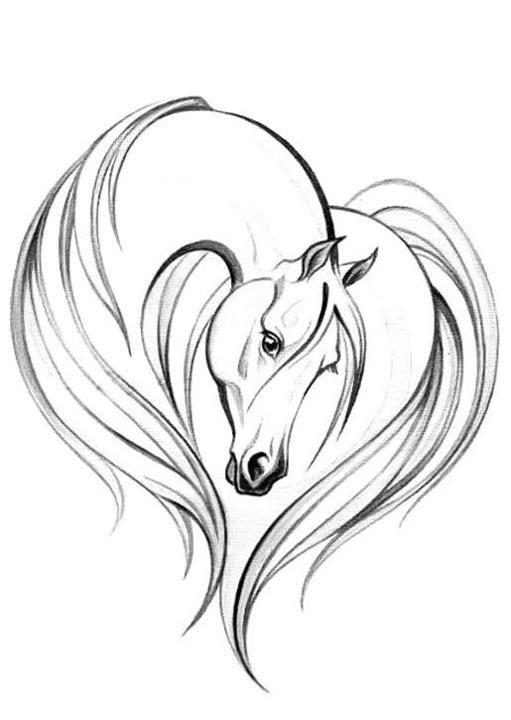 Horseshoe And Horse Tattoo Flash