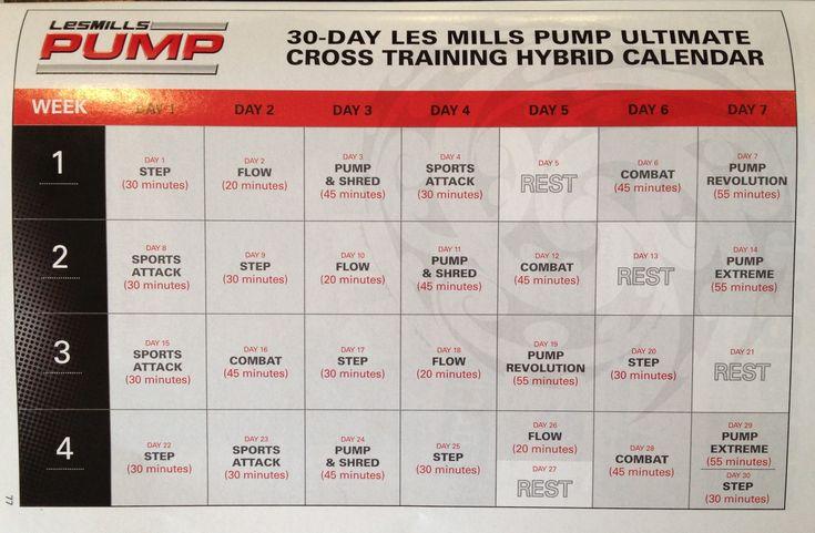 Les Mills Pump Ultimate Cross Training Calendar