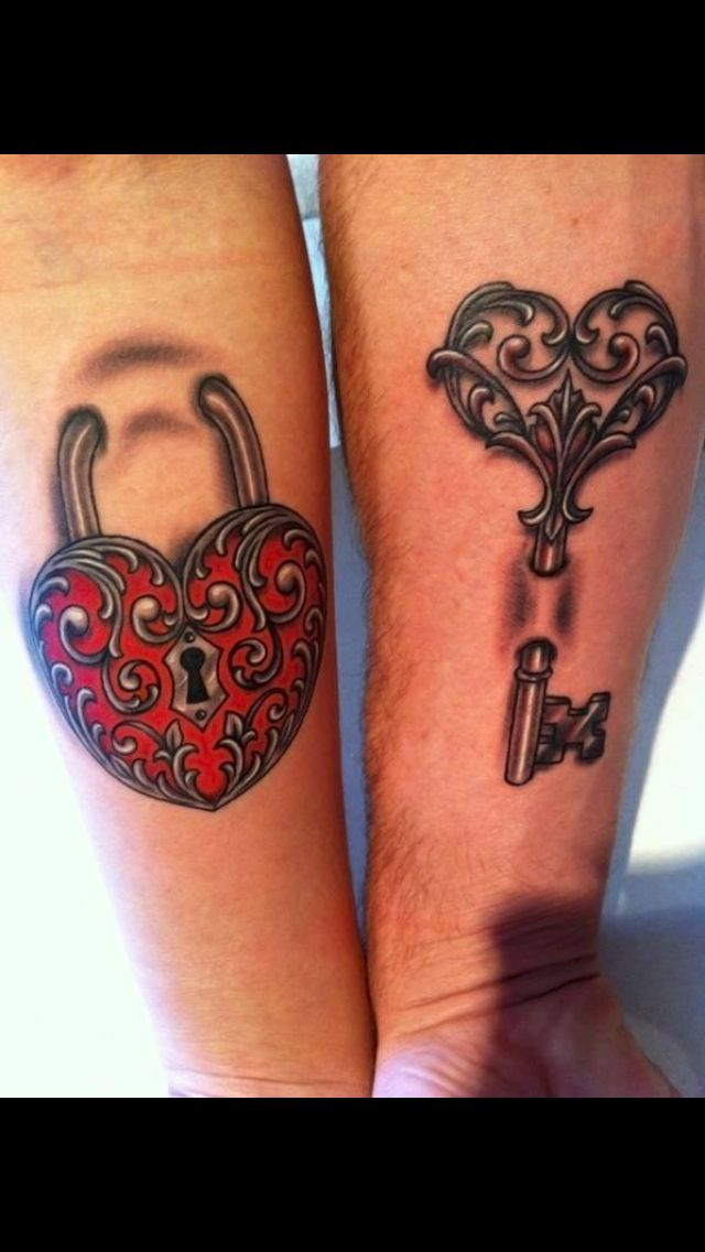 Matching Her And And His Locket Key Tattoos