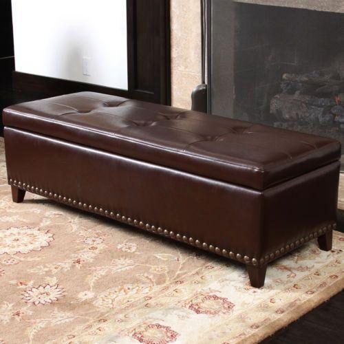 Brown Leather Footstool Storage
