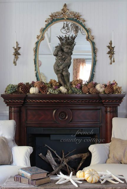 French Country Cottage Natural Autumn Mantel Autumn