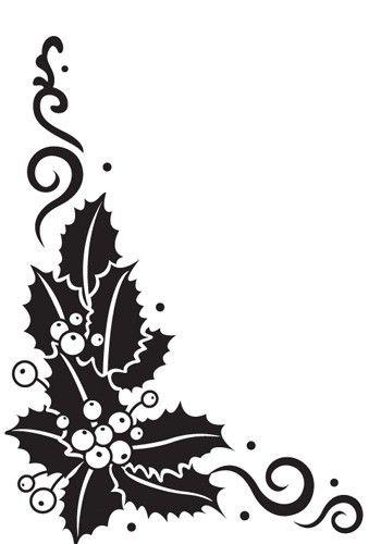 Christmas Holly Corner Black And White