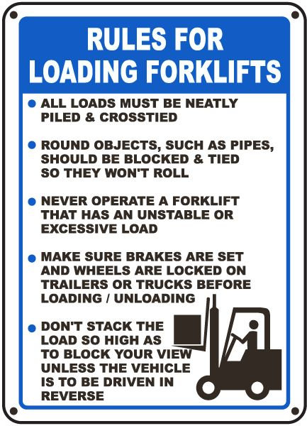 Federal Osha Fork Rules Poster Operating Lift