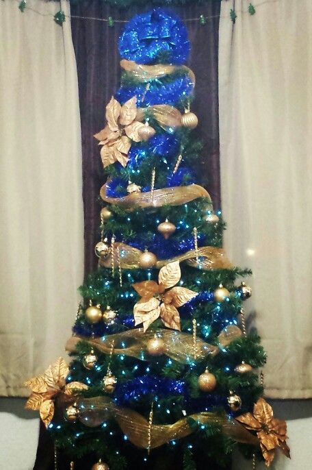 Dark And Decorations Christmas Blue Gold Tree