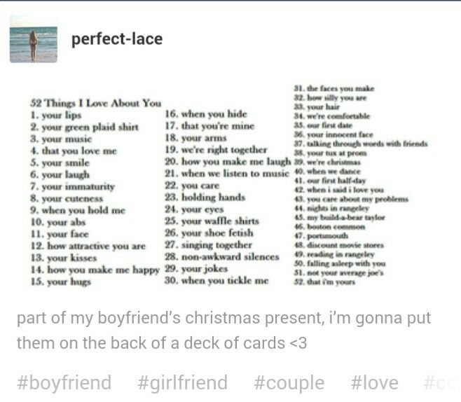 52 List Boyfriend About I Love You Things