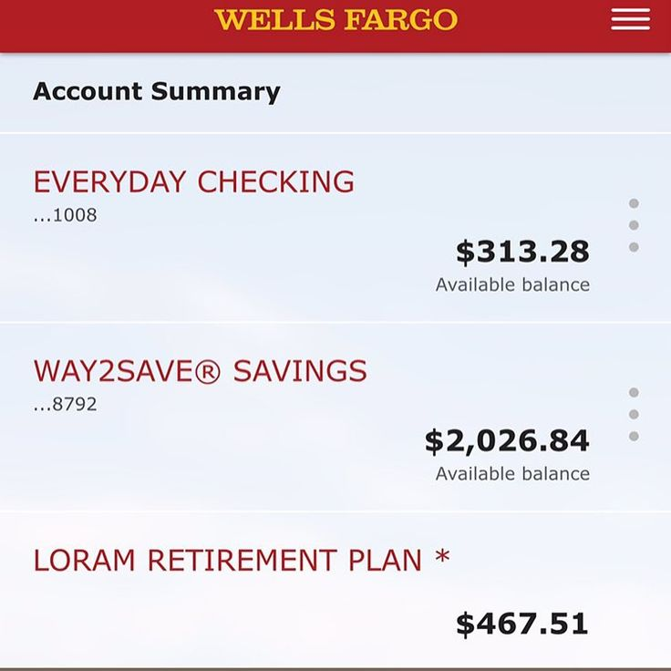 Wells Fargo Checking Account View