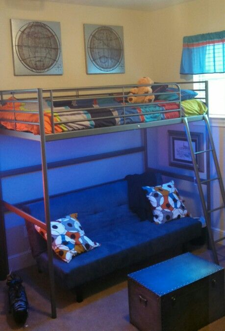 Tween Boy S Room Led Lights Under Loft Bed With Sofa Bed