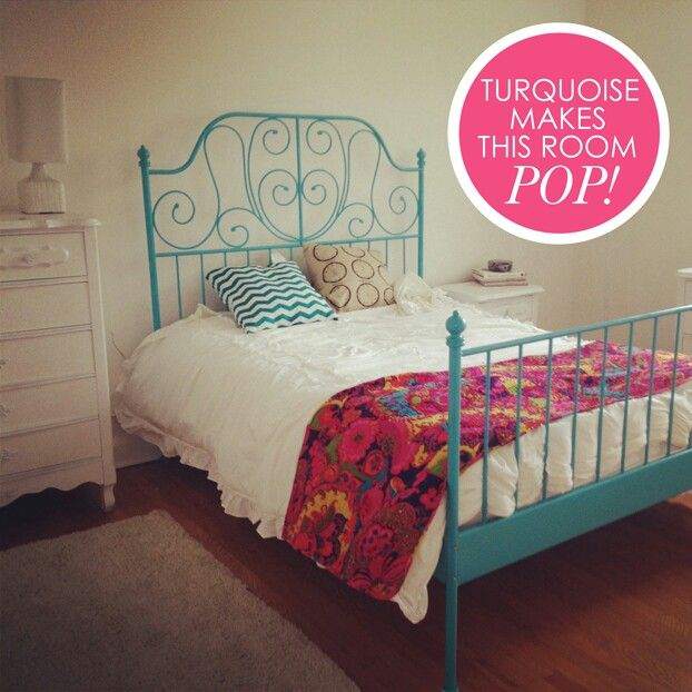 Turquoise Painted Leirvik Bed Frame From Ikea Mi Casa