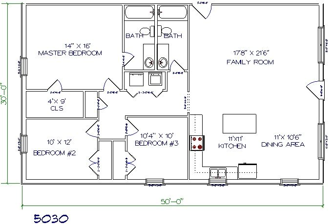 Plans 30 Room X 1 House Open Floor Bed Plan Metal 40
