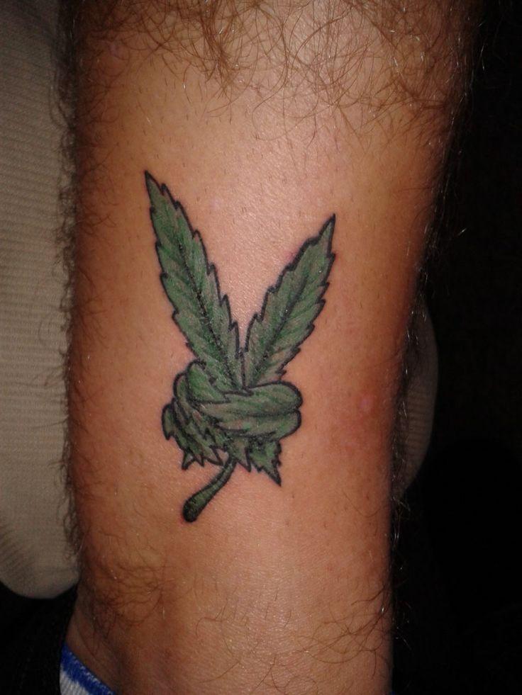 Cannabis Leaf Hand Tattoo