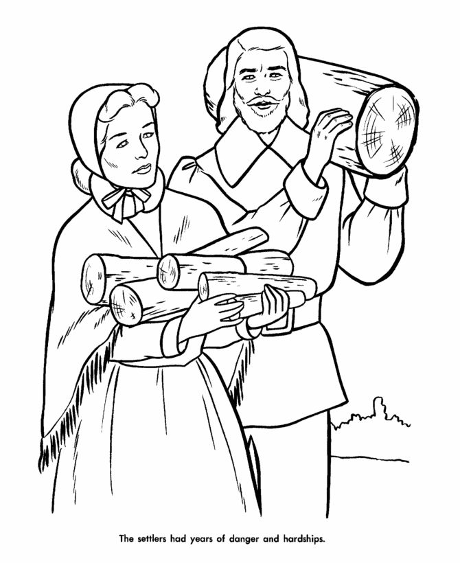 Thanksgiving Pilgrims Indians Coloring And Pages Christian