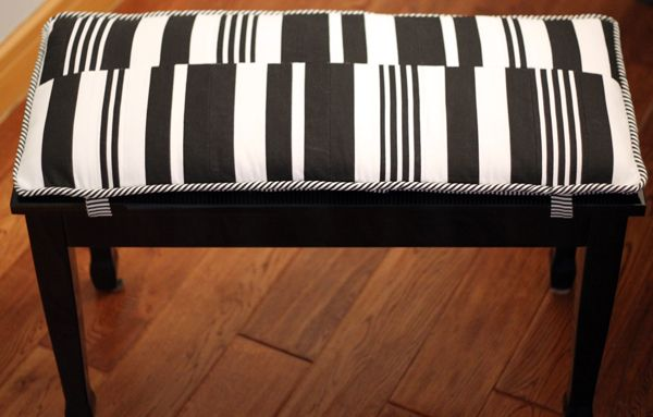 Piano Bench Diy Bench Cushion Black And White Striped