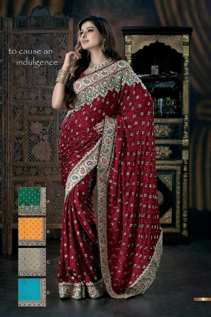 Work Butti Saree Red Heavy Border Bridal