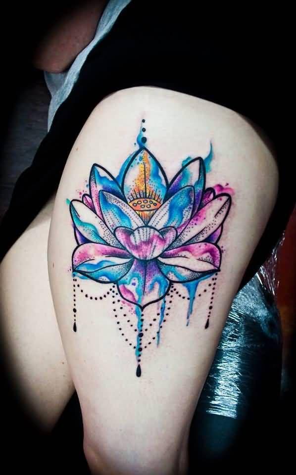 Watercolor Unalome Lotus