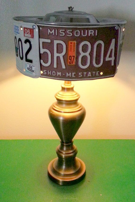 Vintage License Plate Light Table Lamp Amp Shade Man Cave