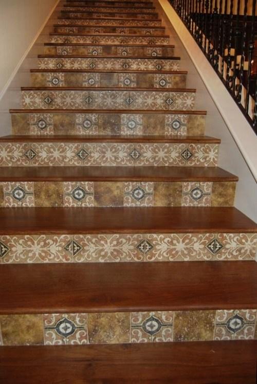 Stair Riser Tiles Designs New Staircase Finish Ideas Wood Stairs | Wood Stairs With Tile Risers | Grey | Diy | Design | Mosaic | Stone