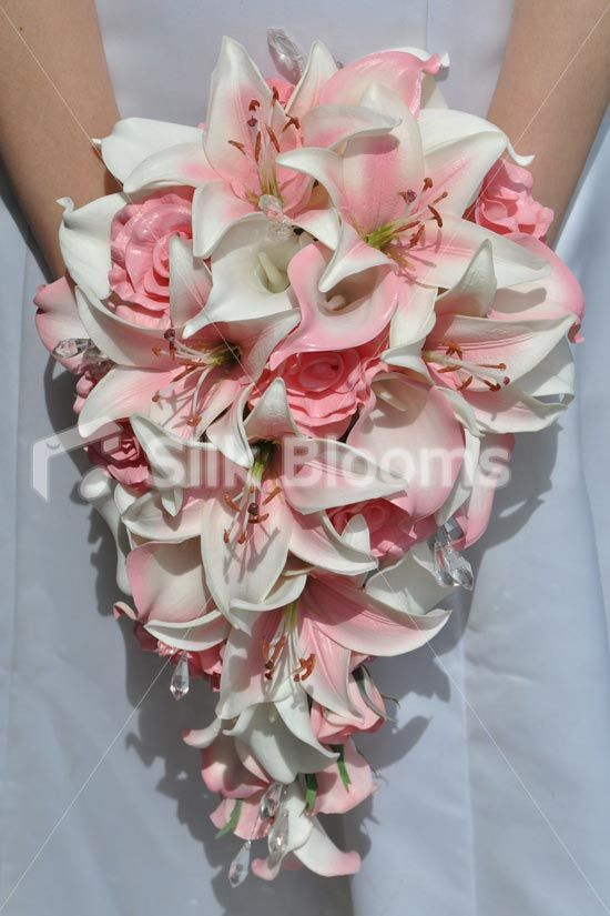Pretty Eye Catching Pink Rose Stargazer And Calla Lily