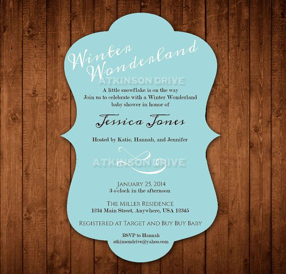 Winter Theme Baby Shower Invitations