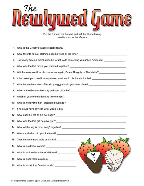 20 Questions Game Married Couples