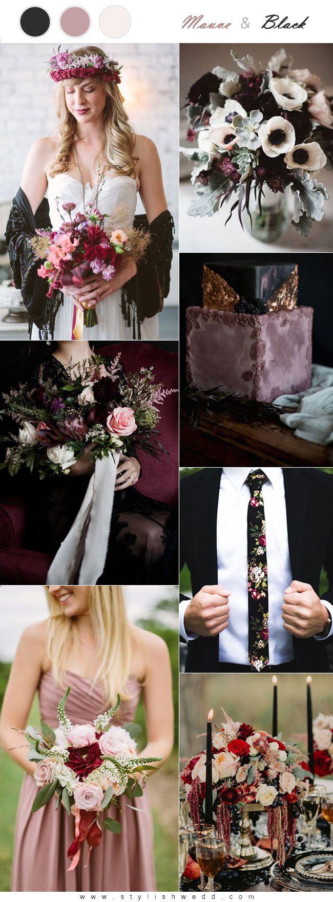 Pink Black Wedding Bands Rings