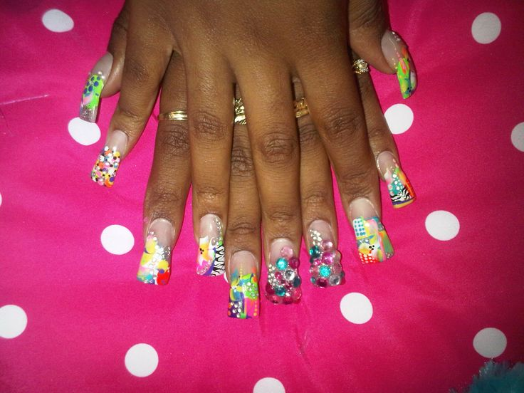 Ghetto White And Pink Nails