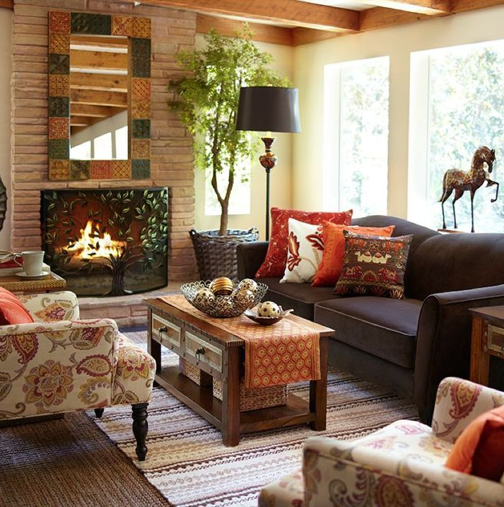 Farmhouse Living Rooms Brown Furniture