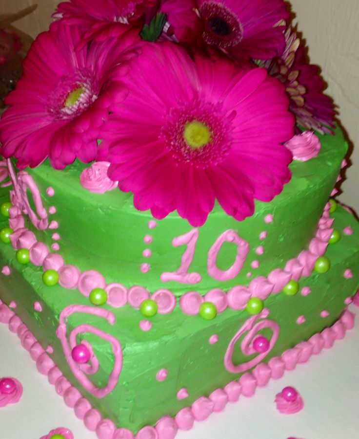 Lime Green And Hot Pink Cake With Gerber Daisy Topper For