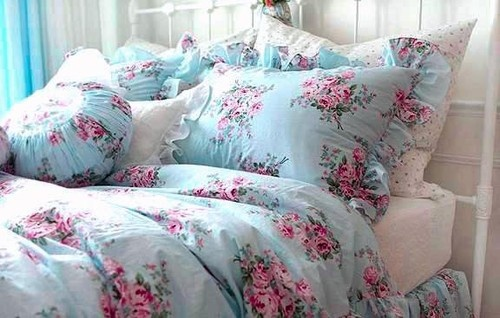 Details About Shabby Princess Chic Blue Rose Floral Duvet