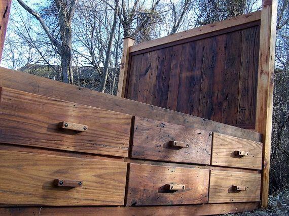 Custom Made 12 Drawer Rustic Reclaimed Wood Platform