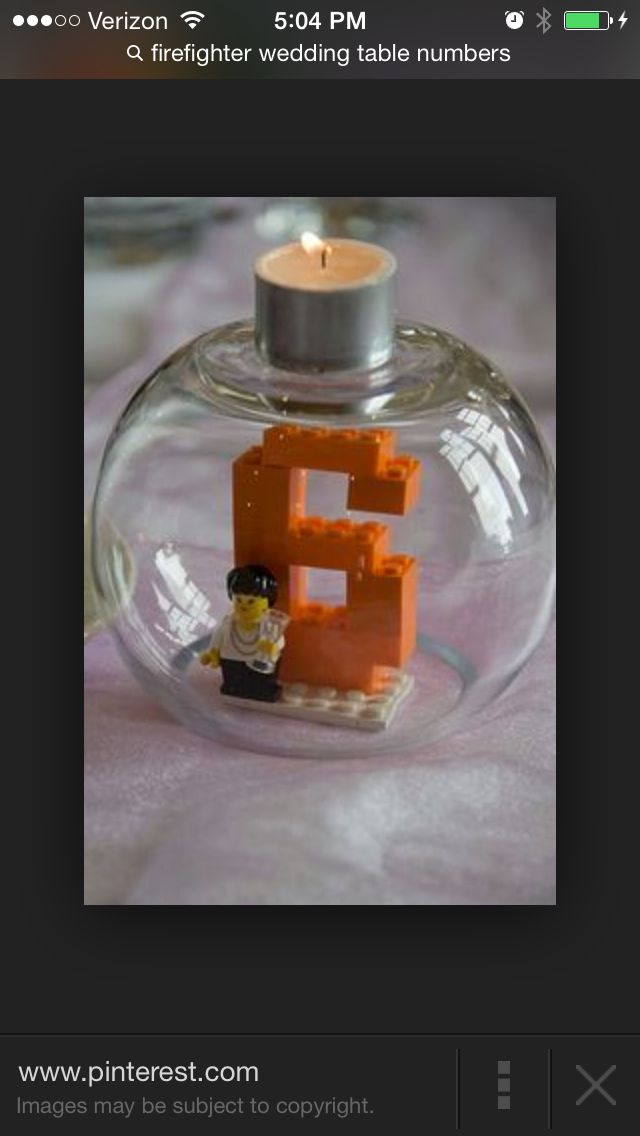 Cute Table Number With Legos Wedding Centerpieces