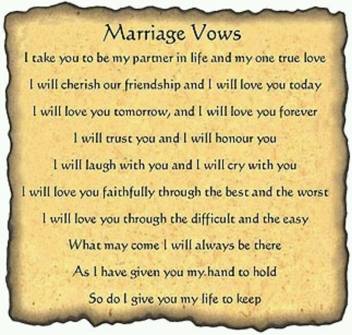 Marriage Ceremony Vows