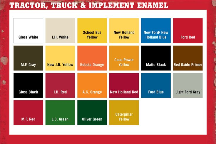 Tractor Paint Color Chart