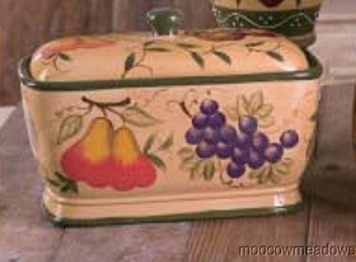 New Strawberry Amp Grapes Ceramic Bread Box Apple Pear