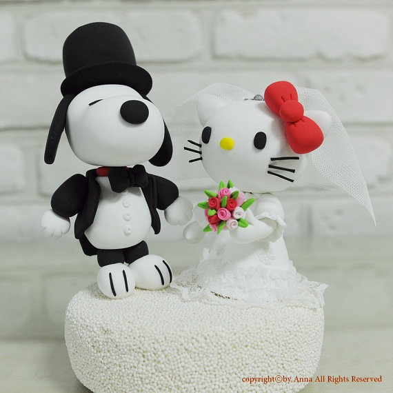 Snoopy Hello Kitty Wedding Cake Topper It S A Party