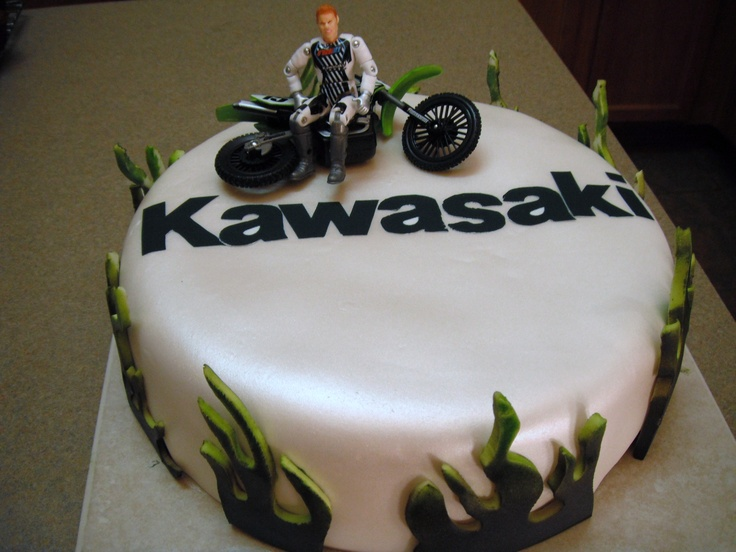 Kawasaki Motorcycle Sports Bike Birthday Cake Race
