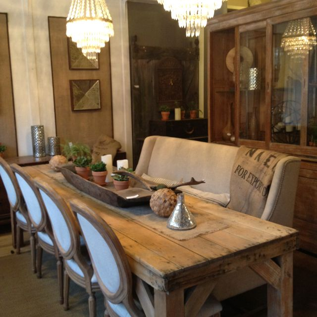 Antique Harvest Table With Linen Banquette And French