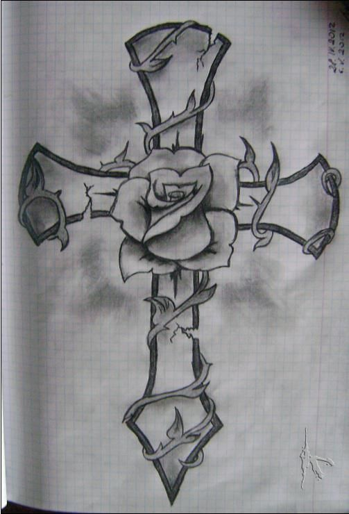 Beautiful Rosary Cross Drawing