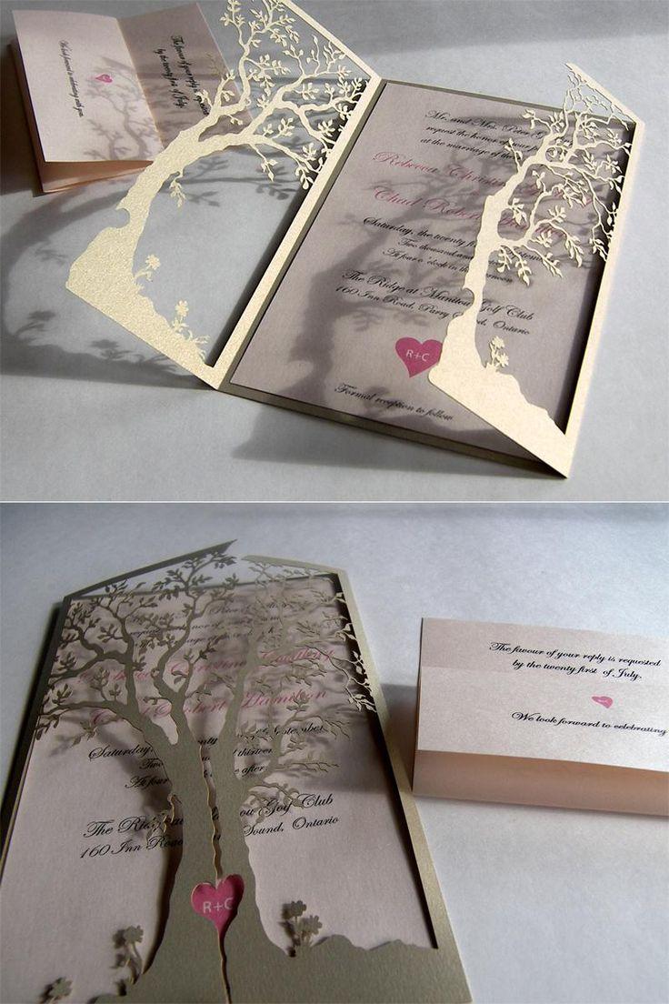 Tree Cut Out Wedding Invitation