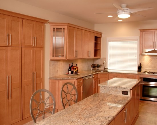I Like This One Maple Cabinets Light Granite Kitchen