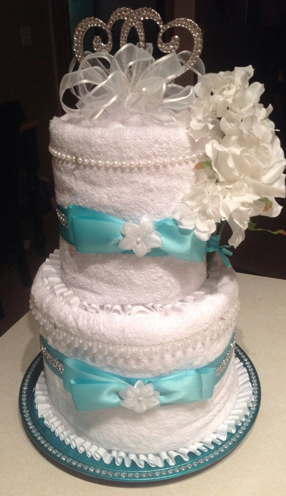 Bridal Shower Wedding Deluxe Towel Cake Decorated In