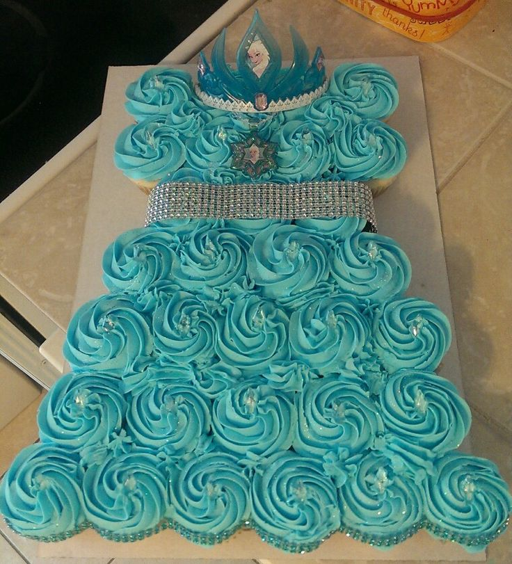 Frozen Inspired Cupcake Cake That I Made For A 4 Year Old