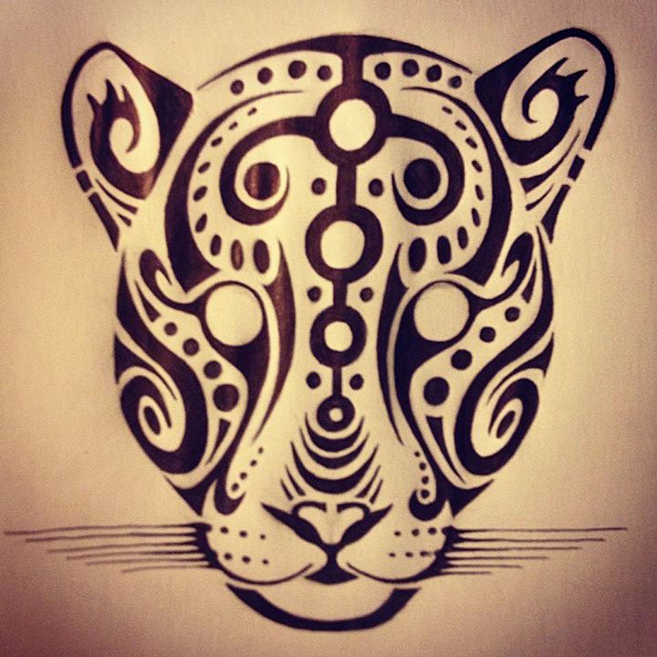 Black Tattoos Panther Realistic Face