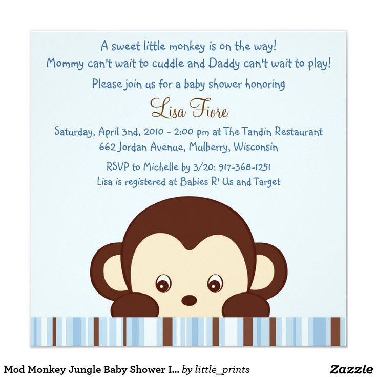 Safari Jungle Baby Shower Invitations