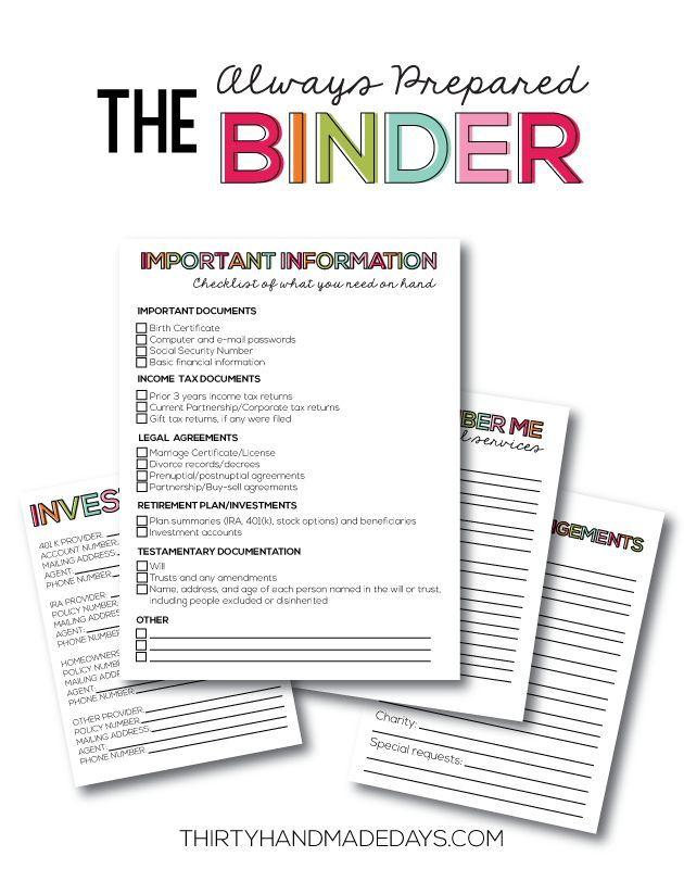 Printables Family Binder Free Budget