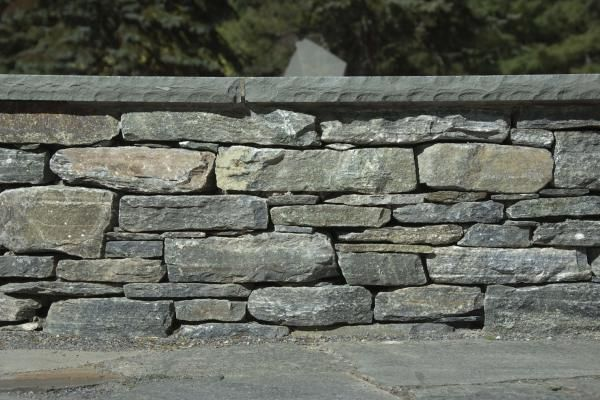 Blue Stacked Stone Retaining Wall