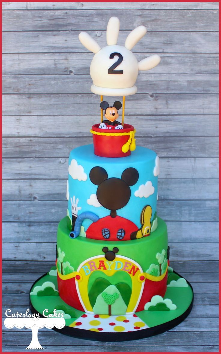 Mickey S Clubhouse Cake With Hot Air Balloon Topper Www