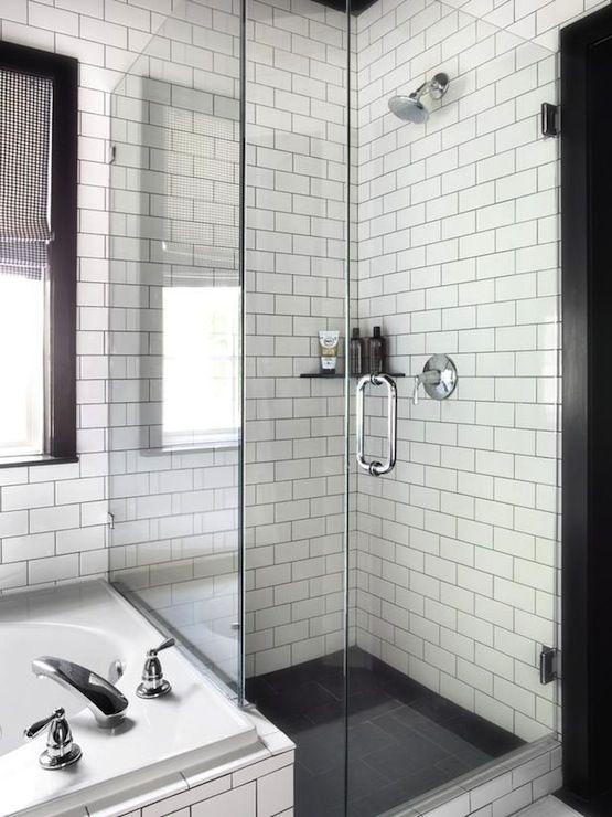 White Tile Grout Gray Black Wiht Vanity Subway